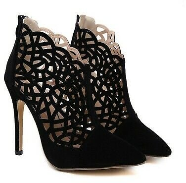 2020 Womens Hollow Out Sexy High Heel Stilettos Sandals Suede Pointy Toe Shoes