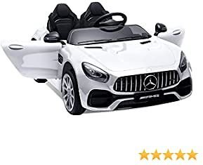 Lernonl Electric Cars for Kids 12v Mercedes Benz AMG 2 Seater Battery Powered Cars for Kids to Drive Ride On Car with Remote Control, LED Light, Music, USB, Horn (White)