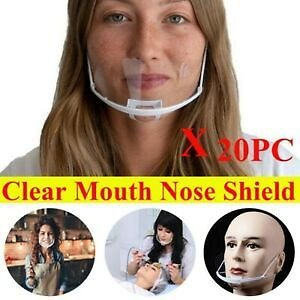 20X Transparent Plastic Face Shield Anti-Splash Anti-fog Food Mouth Nose Cover