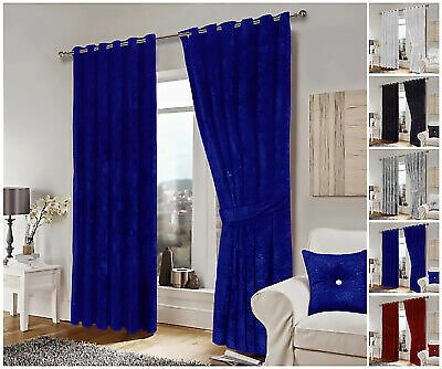Luxury Crushed Velvet Curtains Ready Made Eyelet Ring Top Lined Curtain Pair