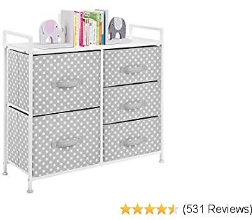 MDesign Wide Dresser 5 Drawers Storage Furniture - Wood Top, Easy Pull Fabric Bins - Organizer for Child/Kids Room or Nursery - Polka Dot Pattern, 32.6