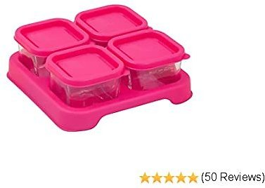 Green Sprouts Reusable Baby Food Glass Containers Freezer Cubes (2oz/4pk)-Pink