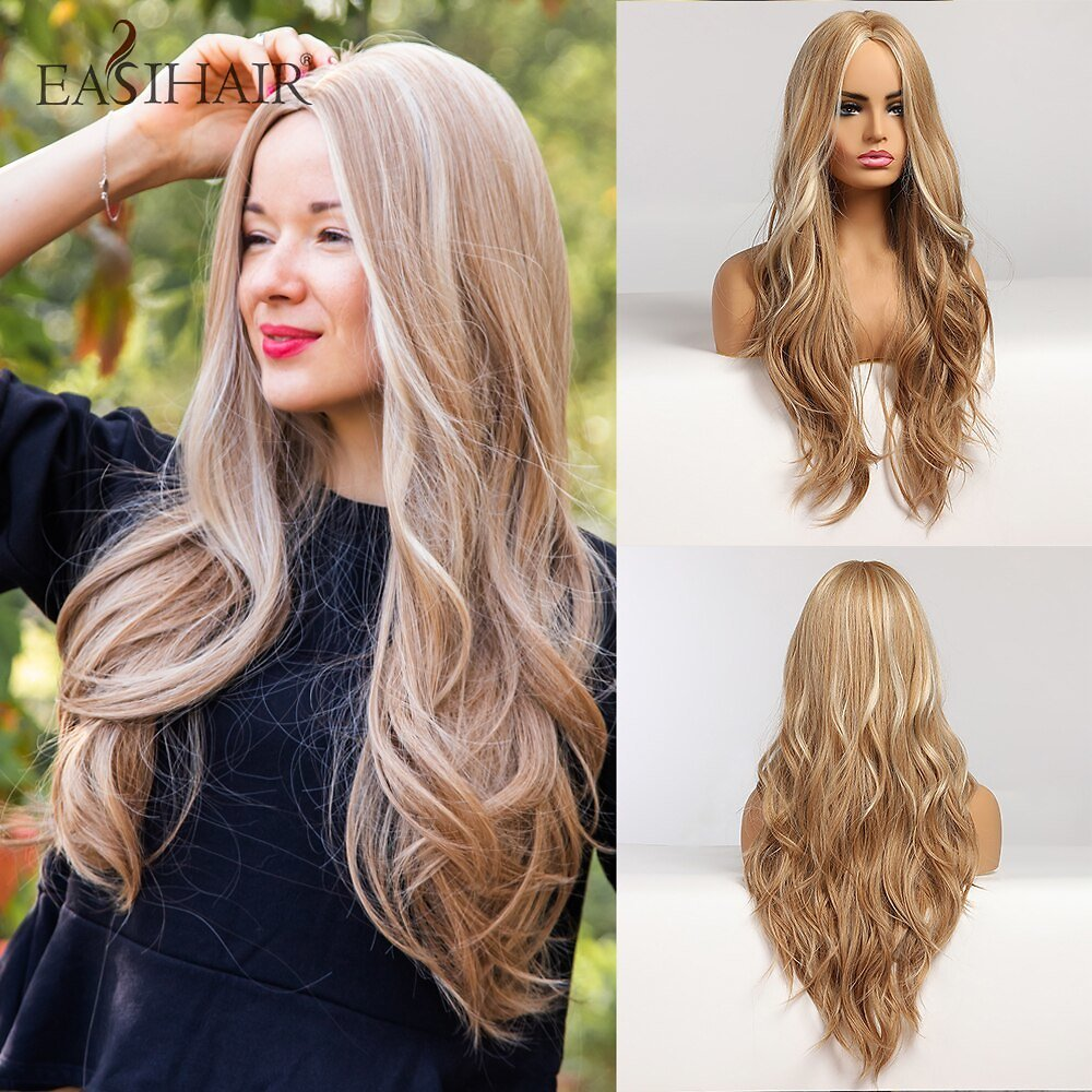 Long Blonde Ombre Synthetic Wigs for Women Middle Part High Density Temperature Wavy Cosplay Wigs Heat Resistant