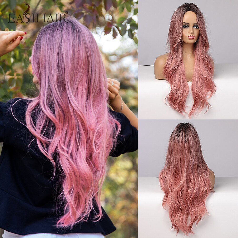 Long Ombre Pink Synthetic Hair Wigs for Women Middle Part Wavy Cosplay Wigs Heat Resistant Natural Hair Wig