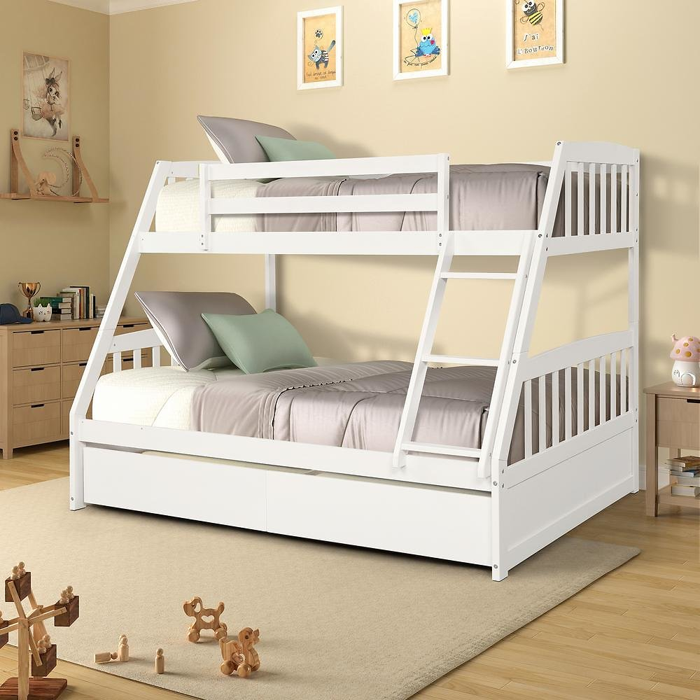 Harper & Bright Designs White Solid Wood Twin Over Full Bunk Bed