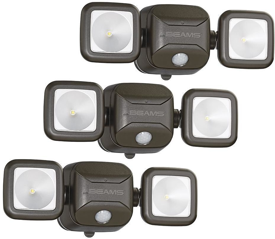 Mr Beams Outdoor 500 Lumen Battery Powered Motion Activated Integrated LED Twin Head Security Light, Brown (3-Pack)-MB3000-BRN-03