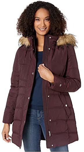 Mid Length Hooded Puffer Jacket with Faux Fur Trimmed Hood