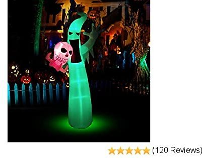 BOZOYYGH 8.9 Ft Halloween Inflatables Scary Ghost with Color Changing LEDs Decorations, Halloween Blow Up Outdoor Party Decor with Tethers, Stakes for Halloween Yard Garden