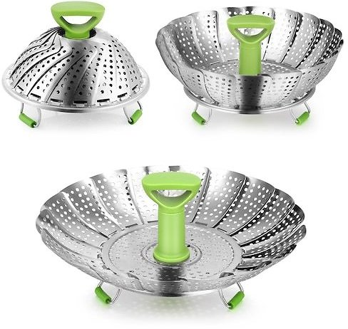 Stainless Steel Vegetable Steamer Basket with Collapsible Design