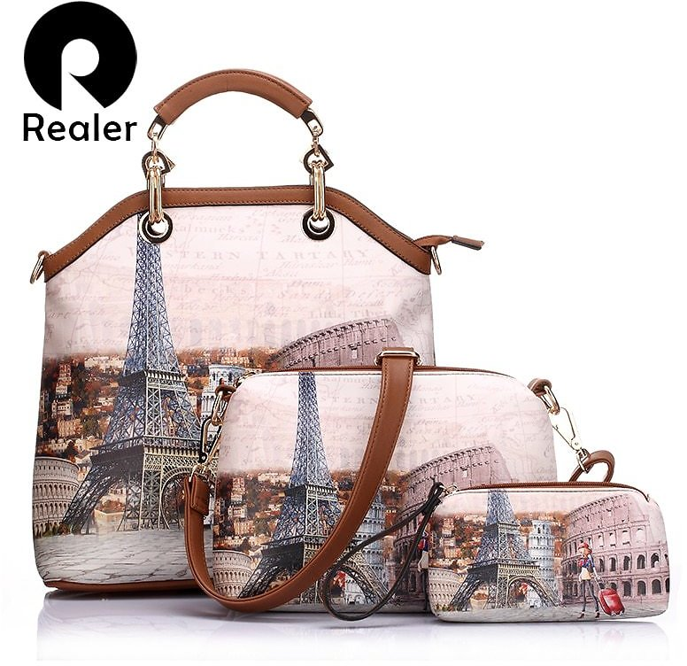 US $13.6 95% OFF|REALER Woman Bag 3 Pcs Printed Women Handbag Large Tote Bag Artificial Leather Messenger Shoulder Bags Female Small Coin Purse| | - AliExpress