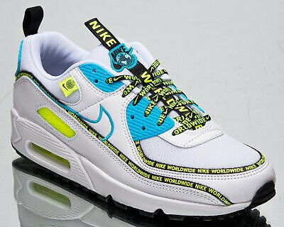 Nike Air Max 90 SE Worldwide Men's White Blue Fury Black Volt Lifestyle Sneakers