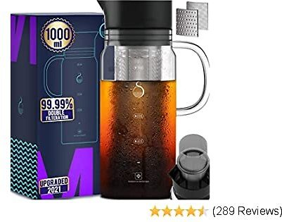100% Airtight Cold Brew Iced Coffee Maker 1.0L / 34oz with Grounds Free Double Mesh Food Grade 304 Stainless Steel Filter