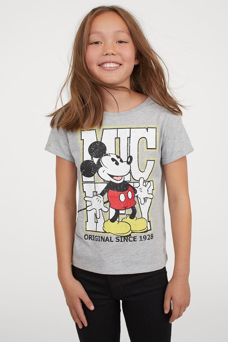 Printed T-shirt - Gray Melange/Mickey Mouse - Kids | H&M US