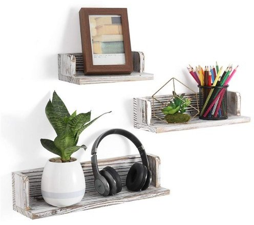 NEX Floating Shelves Wall Mounted Rustic Wood Wall Shelves Set of 3