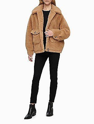 30% OFF Sherpa Flap Pocket Button-Front Jacket | Calvin Klein