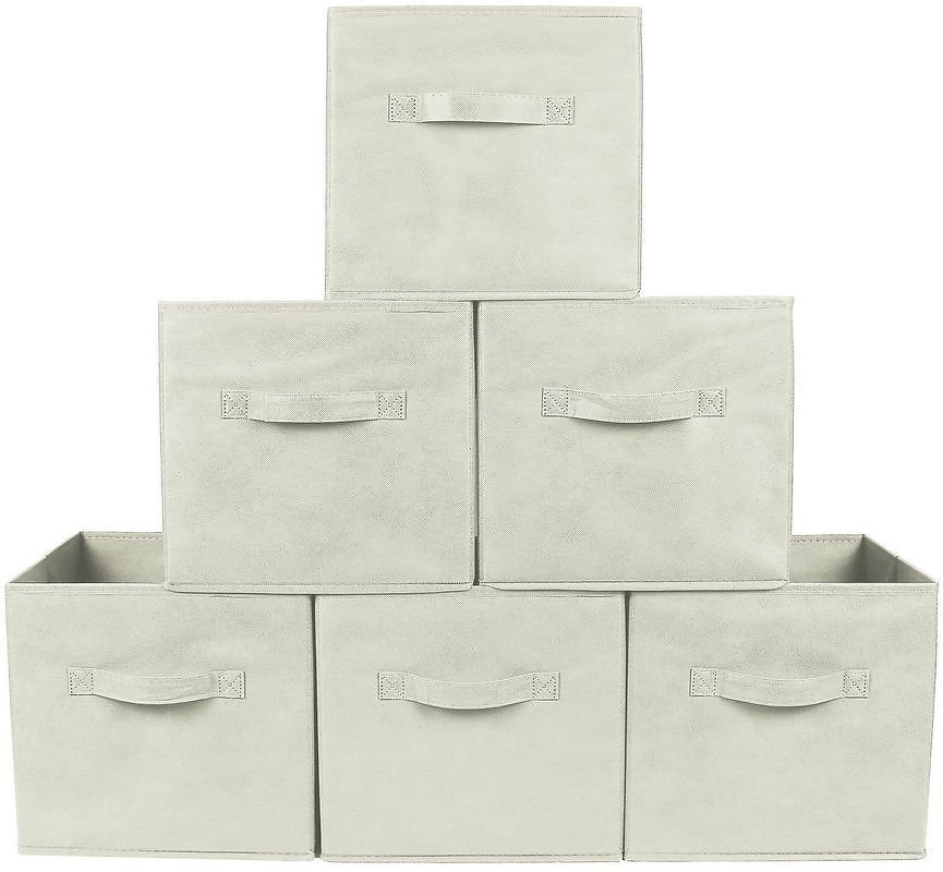Greenco Foldable Storage Cubes Non-Woven Fabric, 6 Pack, Beige