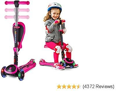 SKIDEE Scooter for Kids with Foldable and Removable Seat – Adjustable Height, 3 LED Light Wheels, USA Brand 3 Wheels Kick Scooter for Girls & Boys 2-12 Years Old - Y200