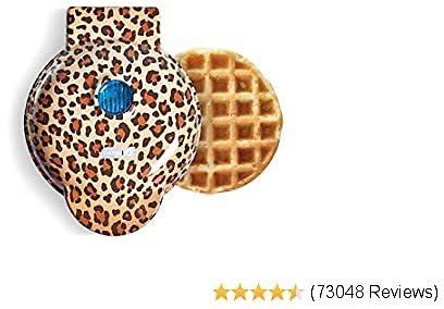 Dash DMW100LP Machine for Individual, Paninis, Hash Browns, Other Mini Waffle Maker, 4 Inch, Orange Leopard