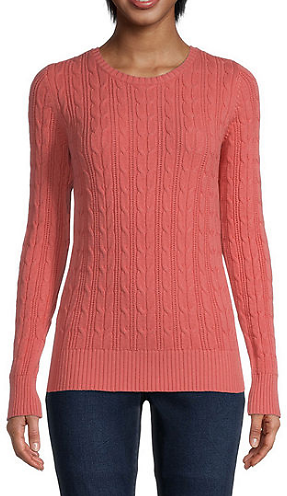 Womens Crew Neck Long Sleeve Pullover Sweater