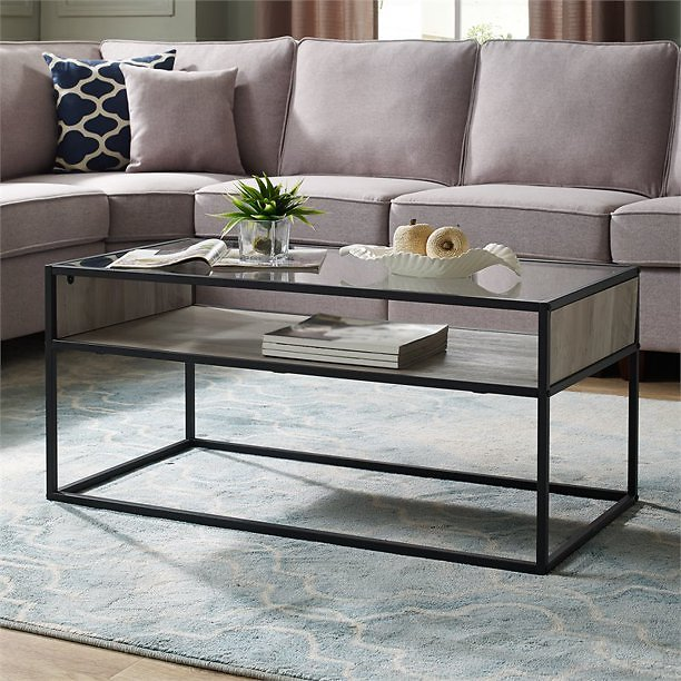Pemberly Row 40 Metal and Glass Coffee Table in Gray Wash