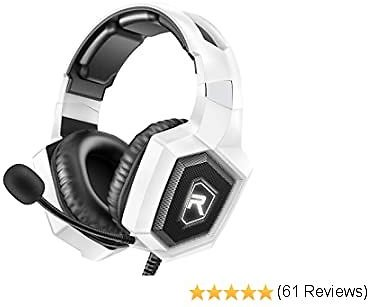RUNMUS Gaming Headset for PS4, Xbox One, PC Headset W/Surround Sound, Noise Canceling Over Ear Headphones with Mic & LED Light, Compatible with PS4, Xbox One, Switch, PC, PS3, Mac, Laptop, Red, White