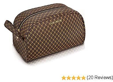 Large Travel Cosmetic Bag Organizer Toiletry Bag Portable Makeup Bag for Women Girls PU Leather Metal Zipper for Business School Sating Shopping (Brown)