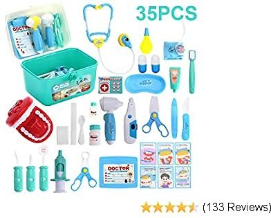 Kids Toys Doctor Kit with 35 Pieces Dentist's Equipment, Durable Medical Kit Pretend Holiday
