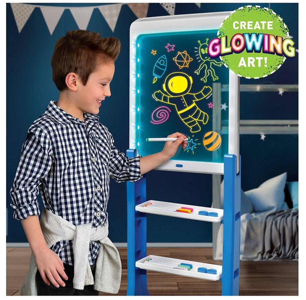 Discovery Kids LED Artist Easel with Removable Glow-in-The-Dark Portable Tablet