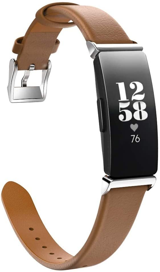 MoKo Watch Band Compatible with Fitbit Inspire/Inspire HR, Premium Genuine Leather Replacement Strap with Connector Fit Fitbit I