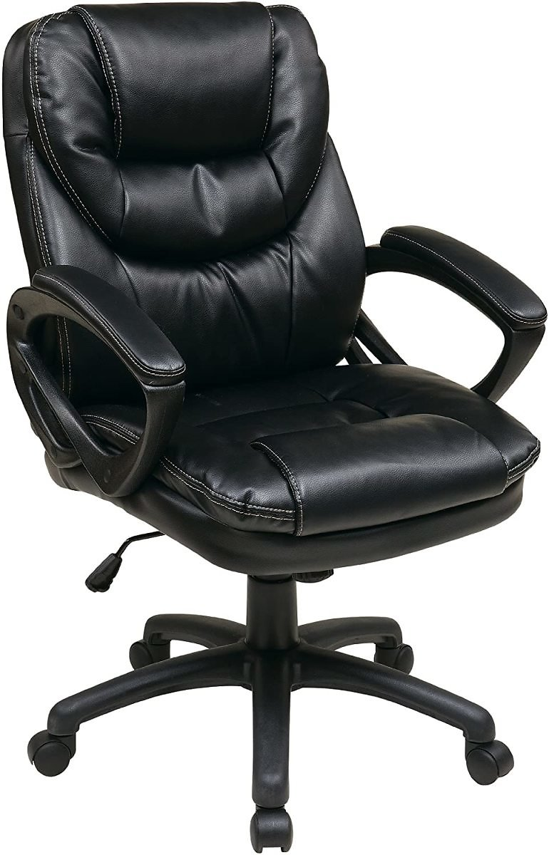 62% Discount - Office Star Faux Leather Manager's Chair with Padded Arms, Black