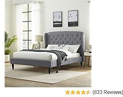 Classic Brands Coventry Upholstered Platform Bed   Headboard and Metal Frame with Wood Slat Support, Queen, Light Grey