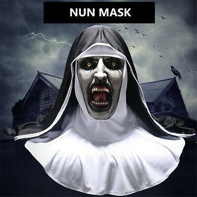Scary Nun Mask Latex Terror Full Face Mask Halloween Party Cosplay Costume Prop