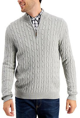 Men's Cable Knit Quarter-Zip Cotton Sweater