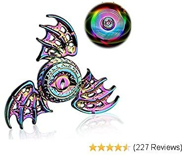 Phoenix Cool Fidget Hand Spinners Dragon Wing Finger Spinner Metal Focus Stainless Steel Fingertip Gyro Stress Relief Spiral Twister ADHD EDC Toy Party Favors Birthday Gift for Kids Adults(Rainbow)