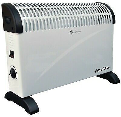 Schallen Modern White 2000W Electric Convector Radiator Heater with Thermostat