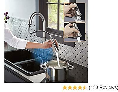 Touchless Kitchen Faucet, Kitchen Sink Faucet with Pull Down Sprayer, Dual Function Pull Out Spray Head, One Hole and 3 Hole Deck Mount, Single Handle For Automatic Motion Sensor, Brushed Nickel…