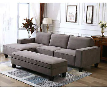 Fabric Sectional with Storage Ottoman