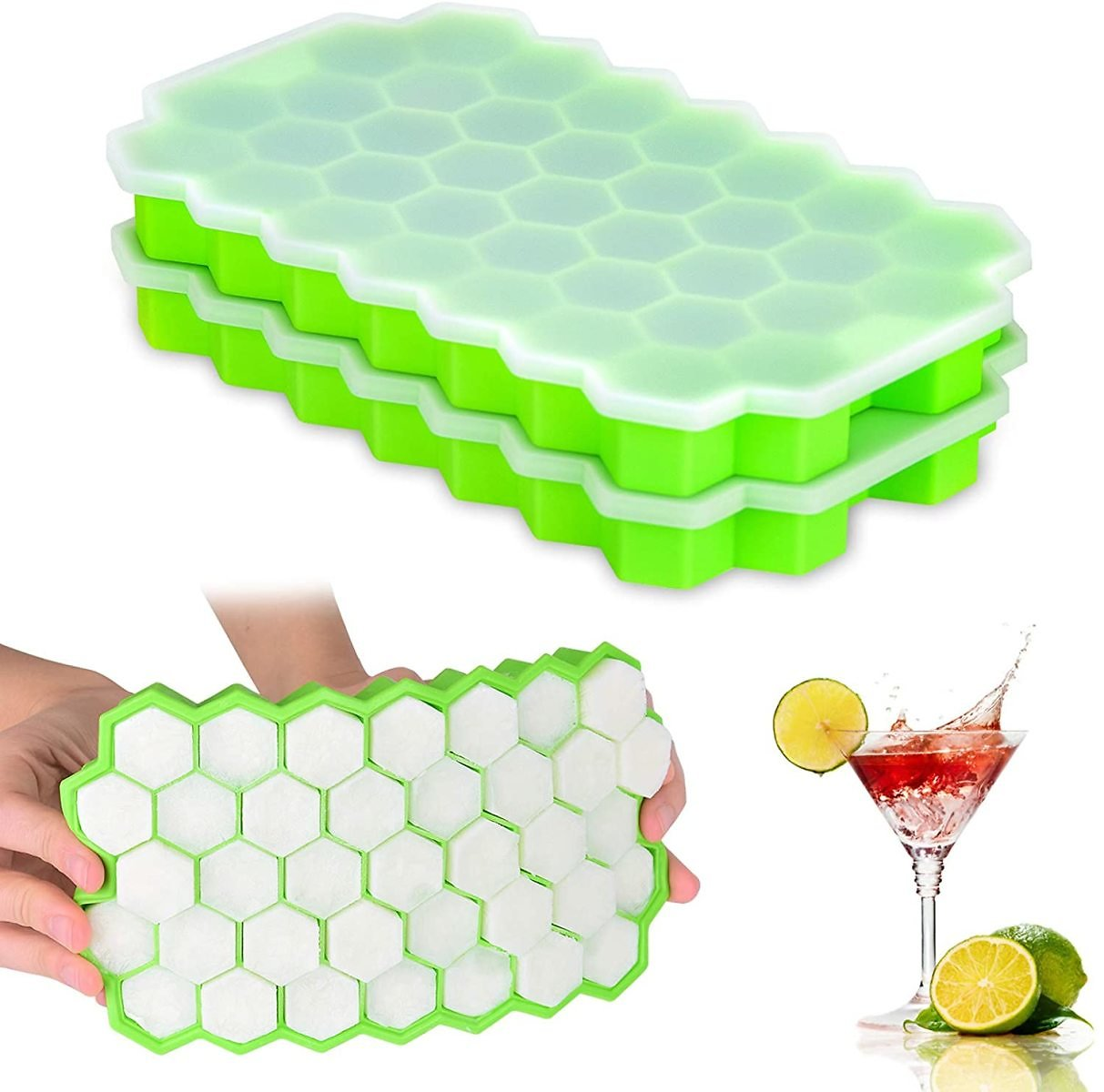 Ice Cube Trays 2 Pack, Morfone Silicone Ice Tray with Removable Lid Easy-Release Flexible Ice Cube