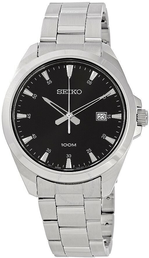 Seiko Black Dial Stainless Steel Men's Watch SUR209