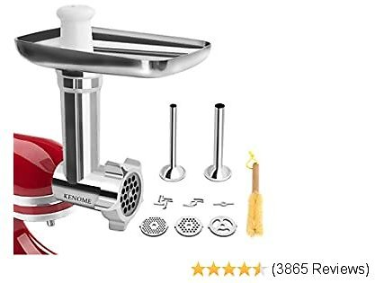 Metal Food Grinder Attachment for Stand Mixers Includes 2 Sausage Stuffer Tubes,Durable Meat Grinder Attachment for Kitchen