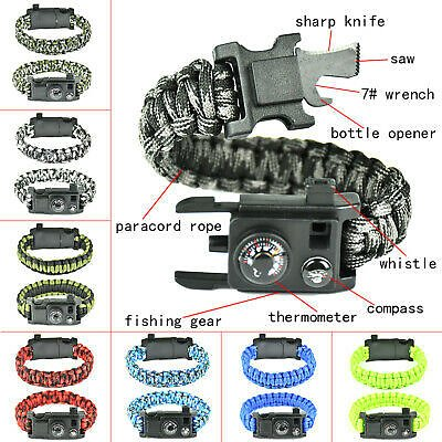 Outdoor Paracord Survival Bracelet Compass Knife Thermometer Camping Tools