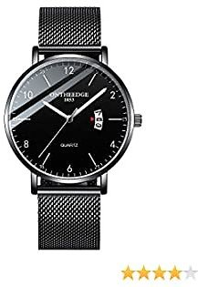 Watches for Men Ultra-Thin Minimalist Waterproof Fashion Wrist Watch for Men with Stainless Steel Mesh Band Christmas Gifts for Men