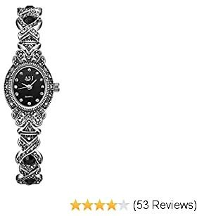 Black Gothic Retro Bracelet Watch,Women Rhinestone Oval Dial Stainless Steel Strap Wrist Watches