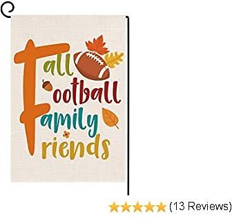 Dazonge Fall Football Family Friends Garden Flag | Vertical Double Sided Small Fall Yard Flag 12.5''x18'' | Farmhouse Flag for Fall Decor Outdoor for Football Fans | Thanksgiving Decorations