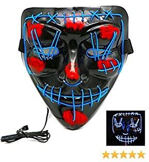 Halloween Decorations Halloween Masks for Adults, Scary Mask Cosplay Led Light Up Mask for Halloween Costume Party (Blue)