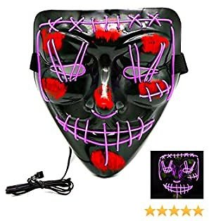 Halloween Decorations Halloween Masks for Adults, Scary Mask Cosplay Led Light Up Mask for Halloween Costume Party (Purple)