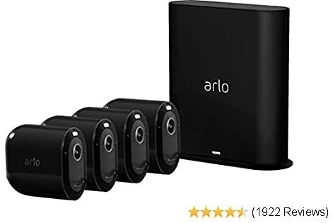 Arlo Pro 3 Spotlight Camera | 4 Camera Security System | Wire-Free, 2K Video & HDR | Color Night Vision, 2-Way Audio, 6-Month Battery Life, Motion Activated, 160° View, Works with Alexa | Black