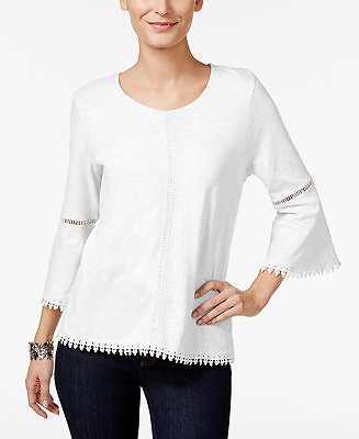 Style & Co Crochet-Trim Bell-Sleeve Top, Created for Macy's & Reviews - Tops - Women
