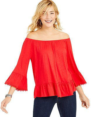 Style & Co Off-The-Shoulder Bell-Sleeve Top, Created for Macy's & Reviews - Tops - Women