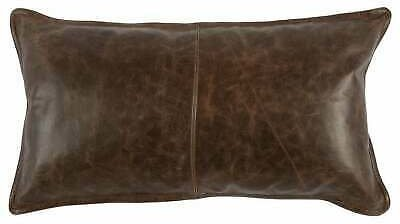 Genuine Leather Pillow Covers Soft Leather Cushion Case Lumber Case Cover Brown